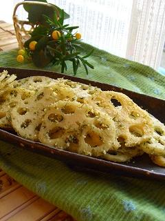 レンコンの青海苔チーズ炒め。