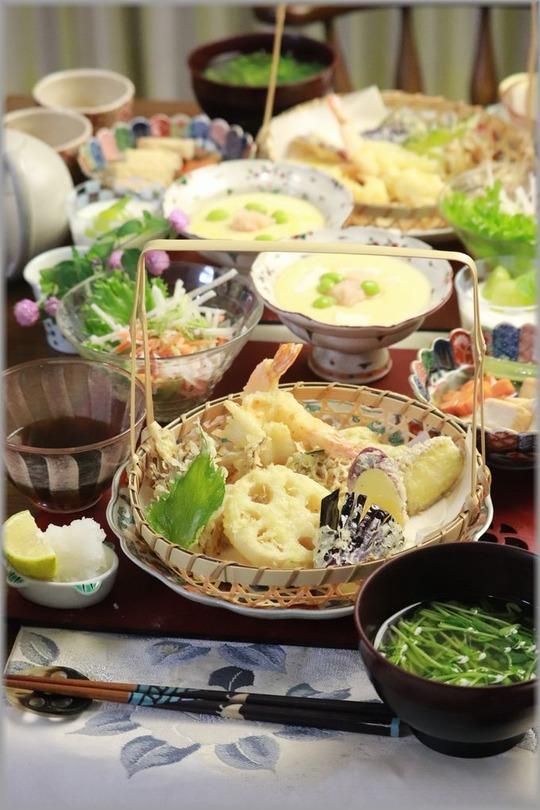 【レシピ】サクサク野菜天ぷら。と 献立。と なんの細工???。