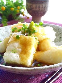 高野豆腐と長芋の揚げだし。