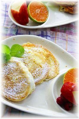 ふわふわ チーズのパンケーキ。 と朝御飯。