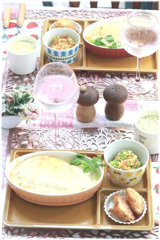 【レシピ】レンチンで作る海老クリームドリア。と 献立。と こんな時の足の指。