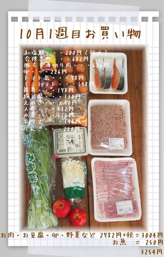 10月1週目のお買い物と ちょこっと仕込み そして夕飯まとめ。