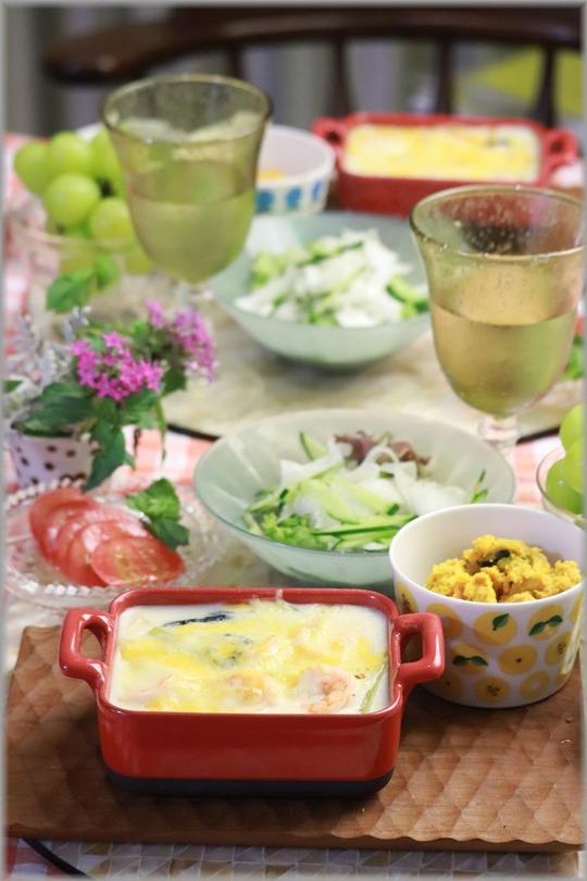 【レシピ】涼しくなったなーと思ったので急に お鍋ひとつの海老と小松菜のグラタン。と 献立。と 約束というご褒美。