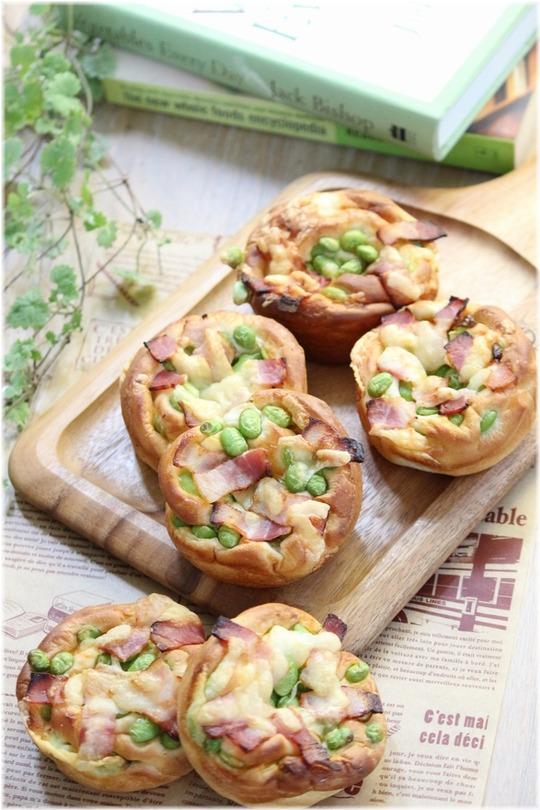 【レシピ】たっぷり枝豆のベーコンチーズパン。と 二人の日曜日。