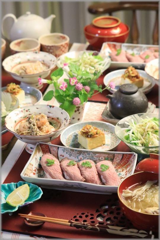 【レシピ】ローストビーフのお寿司。と 献立。 と 彼岸花。