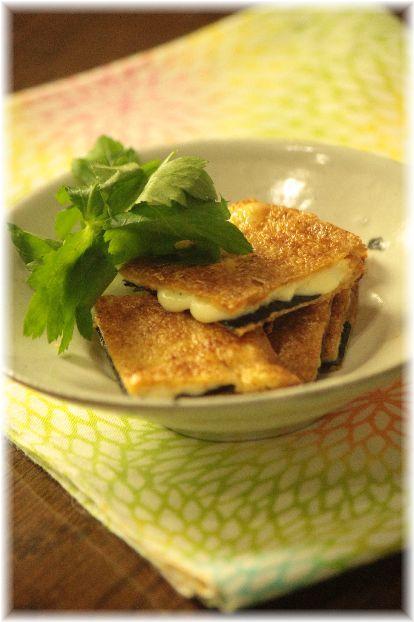 海苔チーズの 焼きお揚げ。 と 献立。