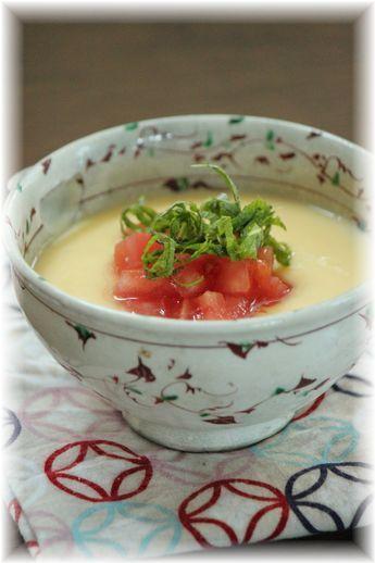トマトの茶わん蒸し。 と朝ごはん。