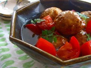 鶏団子のトマト甘酢あんかけ。 と献立。