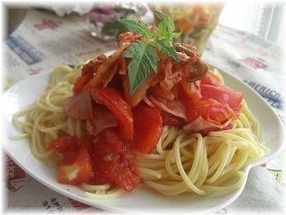 キムチトマトパスタ。 と献立。