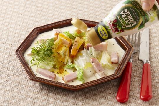 _ENL0457【Jオイルミルズ】蒸し白菜のオイルカルボナーラ