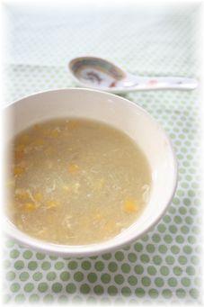 すりおろしじゃがいもの中華スープ。 と献立。