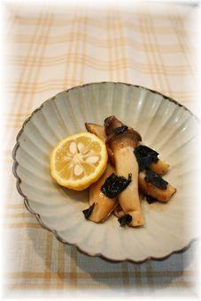 エリンギの海苔生姜焼き。 と朝御飯。