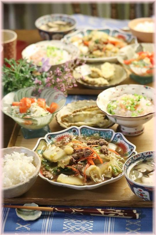 【レシピ】白菜の海苔麻婆。と 献立。と モザイクお弁当。