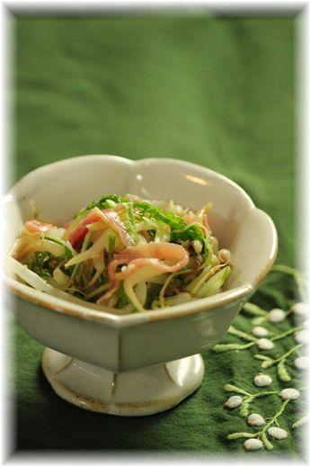もやしの生ハム生姜サラダ。