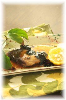 鰤の海苔柚子照り焼き。 と献立。