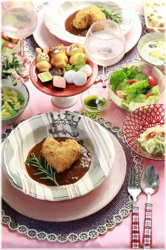 【レシピ】今更デスガ バレンタインは デミグラス・キャベツメンチカツ。の 献立でした。と 夜中の台所。