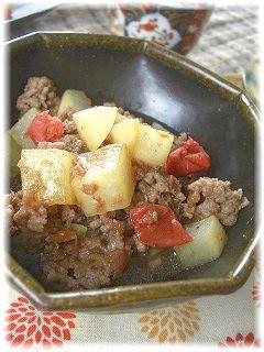 大根と挽肉の梅かつお煮。 と献立。