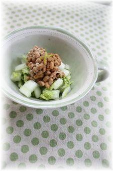 柚子白菜の塩納豆。 と朝御飯。