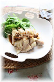 オイスター生姜ソースの蒸し鶏。 と献立。