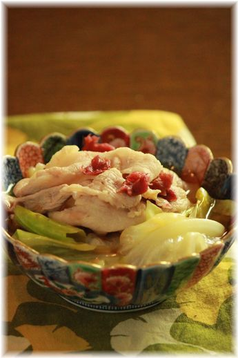 キャベツと豚肉の梅おかか煮。 と 献立。