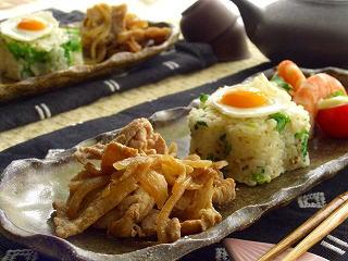菜の花とマスタードのご飯でワンプレートディッシュ♪