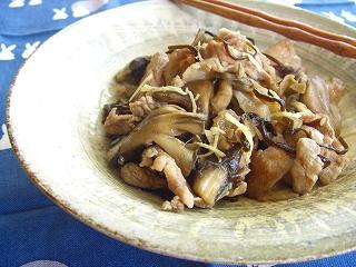 豚肉と舞茸の塩生姜炒め。 と献立。