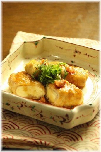 肉巻き豆腐の梅紫蘇焼き。 と献立。