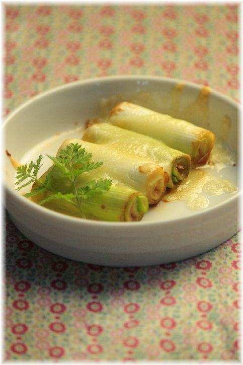 葱のにんにく醤油チーズ焼き。 と 献立。