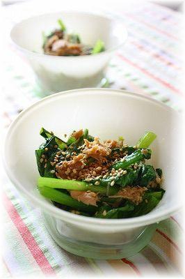 小松菜とツナの煮びたし。 と献立。