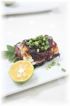 秋刀魚のネギ味噌焼き。 と朝御飯。
