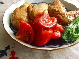 手羽先の和風トマト煮。 と献立。