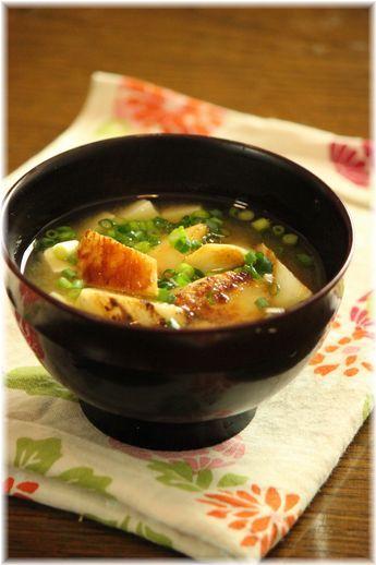 焼き長芋のお味噌汁。 と献立。