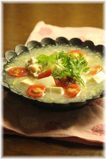 ささみとワサビの白い麻婆豆腐。 と献立。