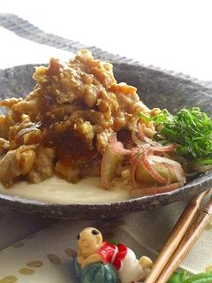 豚のしょうが焼き・お豆腐ソースと一緒♪