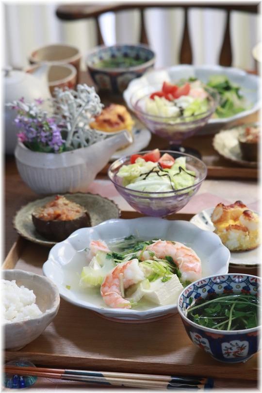 【レシピ】お豆腐と海老のさっぱり香味煮。と 献立。と お礼のお弁当。