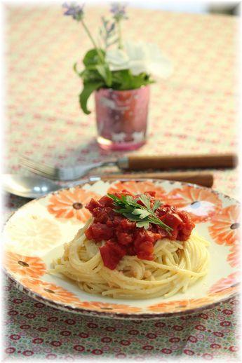 たらこトマトパスタ・2。 とお昼ごはん。