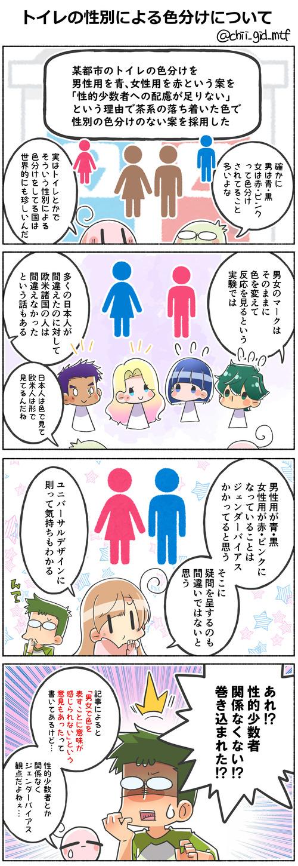 トイレの性別による色分けについて