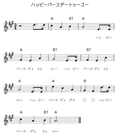 ハッピーバースデートゥーユー(KeyA歌詞コード付き)-1