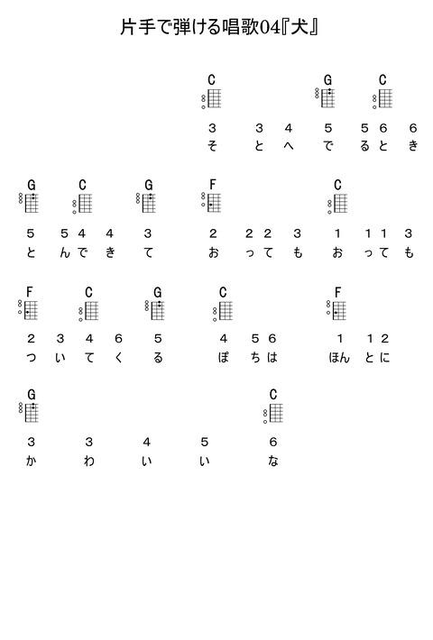 片手で弾ける唱歌04『犬』