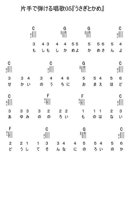 片手で弾ける唱歌05『うさぎとかめ』