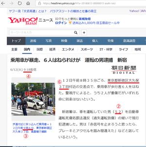 乗用車が暴走、6人はねられけが 運転の男逮捕 新宿②③④⑥