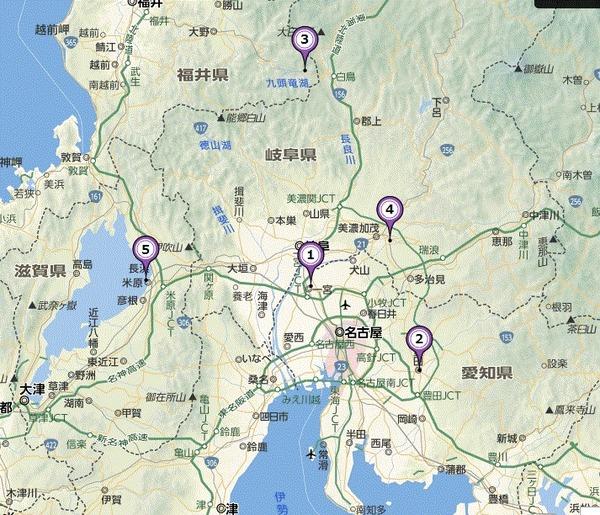 九頭竜湖、愛知県、可児市地図