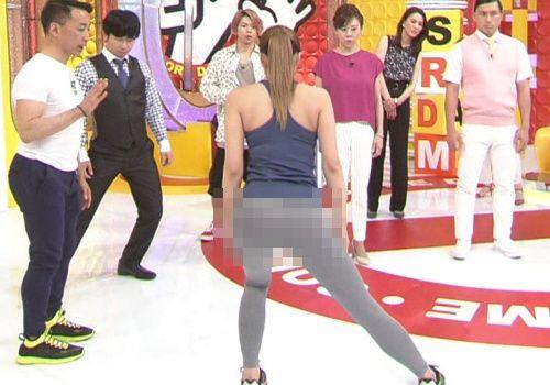 【画像】テレ東で美尻体操スパッツでパンツ透け透け放送事故wwwwww