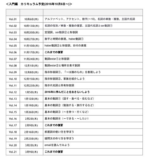 入門編カリキュラム  (9月20日作成)