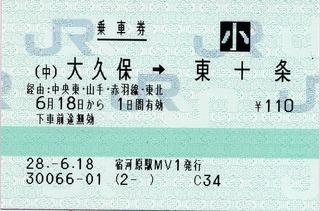 (中)大久保⇒東十条 経由:中央東・山手