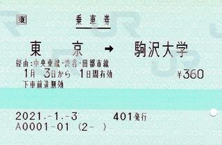 東京⇒駒沢大学 2021.-1.-3 -