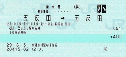 五反田⇒五反田 120ミリ