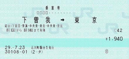 下曽我⇒東京 120ミリ