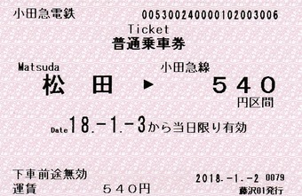 松田⇒小田急線540円