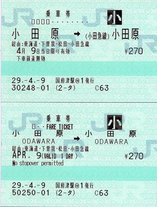 小田原⇒(小田急線)小田原 JE